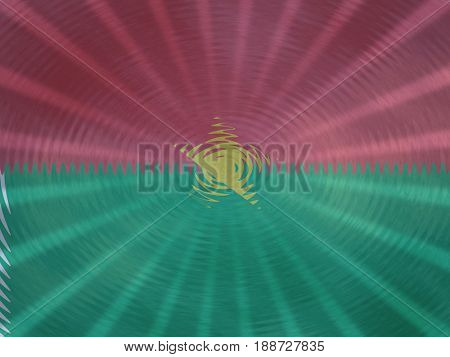 Burkina Faso flag background with ripples and rays illustration