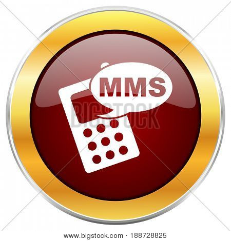 Mms red web icon with golden border isolated on white background. Round glossy button.