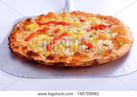 Hawaiian Pizza. Hawaiian Pizza isolated on a white background