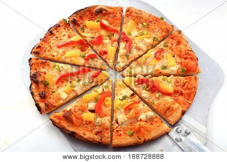 Hawaiian Pizza. Hawaiian Pizza isolated on a white background