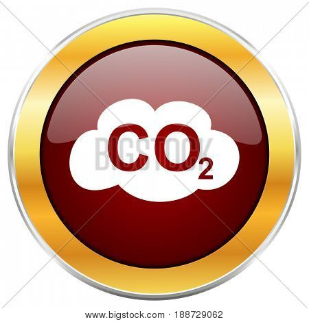 Carbon dioxide red web icon with golden border isolated on white background. Round glossy button.