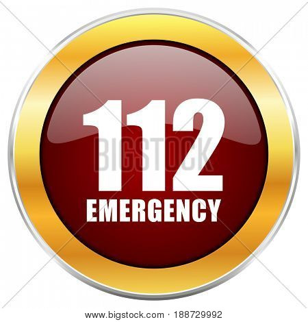 Number emergency 112 red web icon with golden border isolated on white background. Round glossy button.