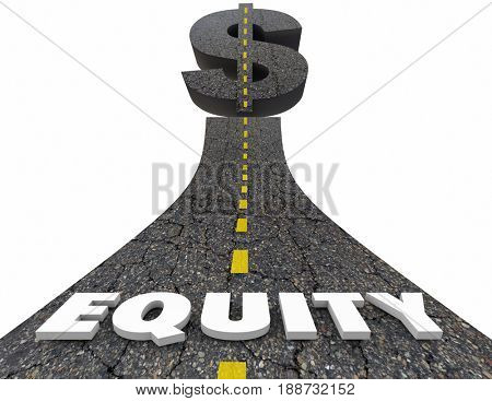 Equity Road Dollar Sign Investment Value Growth 3d Illustration