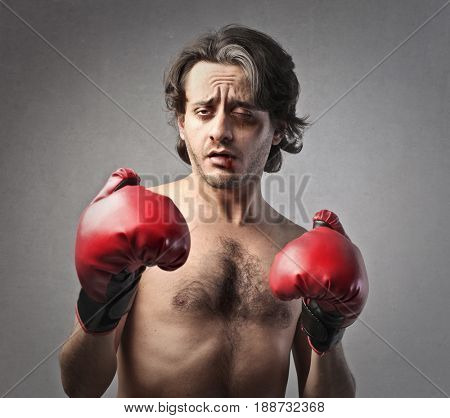Defeated boxer