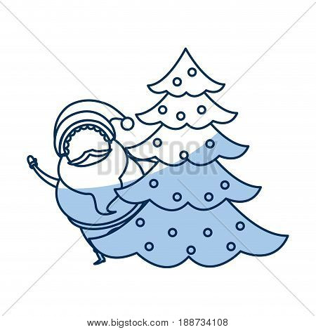 outlined santa claus with pine tree christmas celebration image vector illustration