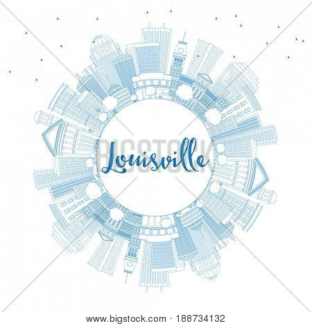 Outline Louisville Skyline with Blue Buildings and Copy Space. Business Travel and Tourism Concept with Modern Architecture. Image for Presentation Banner Placard and Web Site.