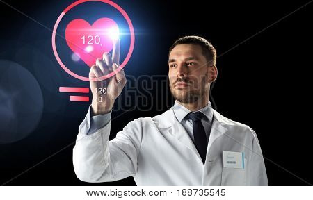 medicine, cardiology and healthcare concept - doctor or scientist in white coat with heart rate projection over black background
