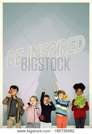 Group of school kids with aspiration word graphic