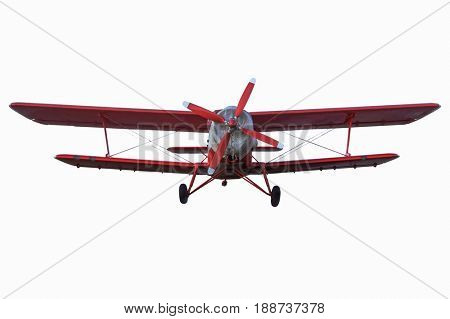 retro vintage airplane. Plane isolated on white background.  passenger airplane in flight. nobody