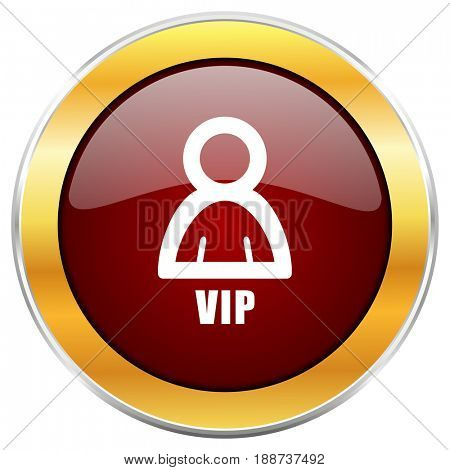 Vip red web icon with golden border isolated on white background. Round glossy button.