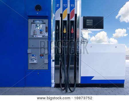 low view of a fuel panel in a gas station