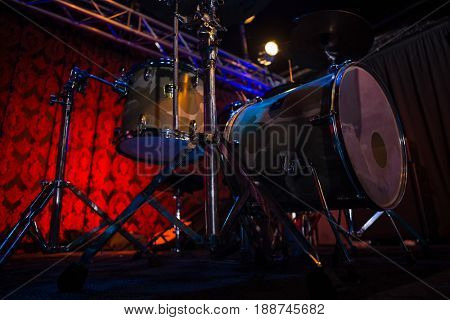 Modern drum kit in recording studio