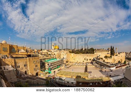 The area of the Western Wall of the Temple after the prayer. Autumn holiday of Sukkot. Windy autumn day in Jerusalem