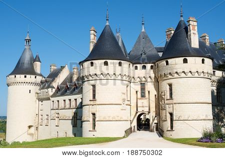 Entrance to the castle of Chaumont Sur Loire, Loire Valley, France. Originally built in the 10th century