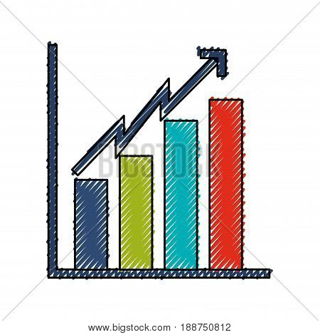 scribble bar chart icon vector graphic design