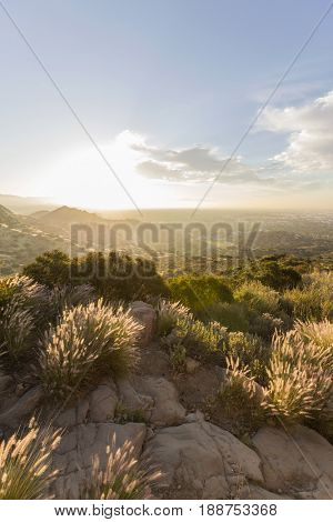 Sunrise view from Santa Susana State Historic Park in the west San Fernando Valley area of Los Angeles, California.