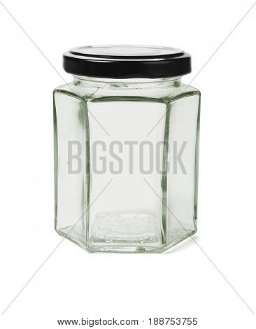 Hexagonal Shape Glass Container on White Background