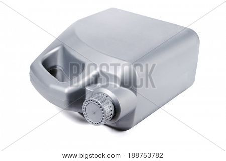 Plastic Motor Oil Container Lying on White Background