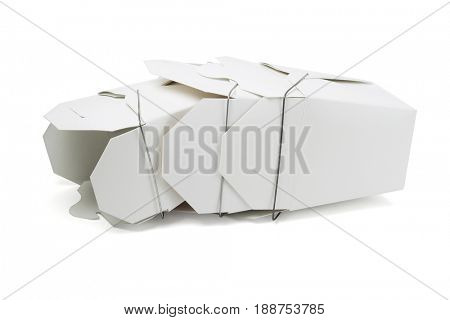 Chinese Restaurant Takeaway Food Boxes Lying on White Background