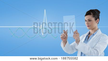 Digital composite of Doctor looking at pulse trace through  transparent screen