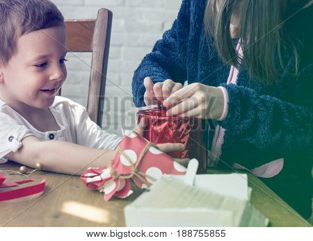 Photo Gradient Style with Present Gift Surprised Happiness Quality Time