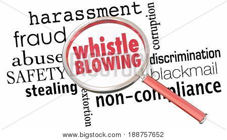 Whistle Blowing Report Crime Violation Breaking Laws Magnifying Glass 3d Illustration