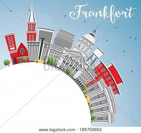 Frankfort Skyline with Gray Buildings, Blue Sky and Copy Space. Business Travel and Tourism Concept with Modern Architecture. Image for Presentation Banner Placard and Web Site.