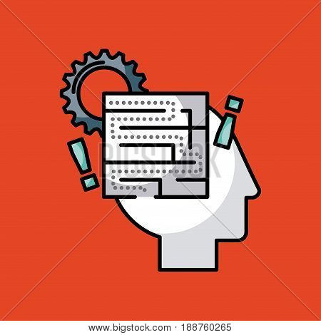 heads sprockets human illustration icon vector design graphic colorful