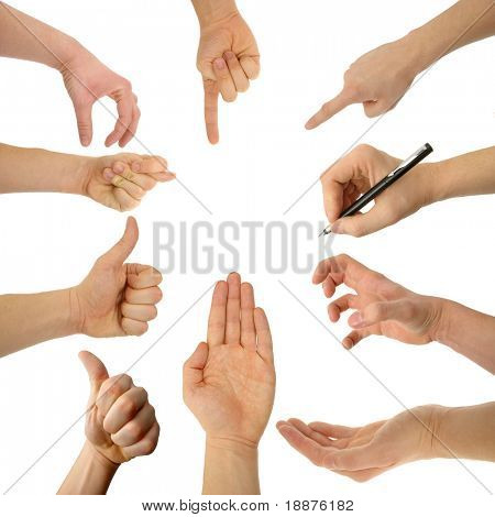 set of hands with clipping paths