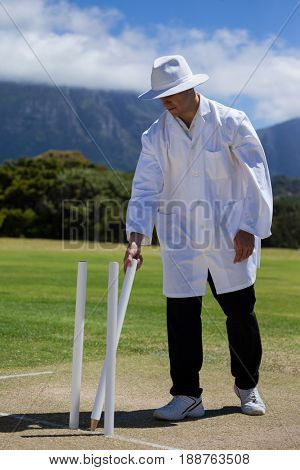 Full length of umpire removing wicket while standing on field at match