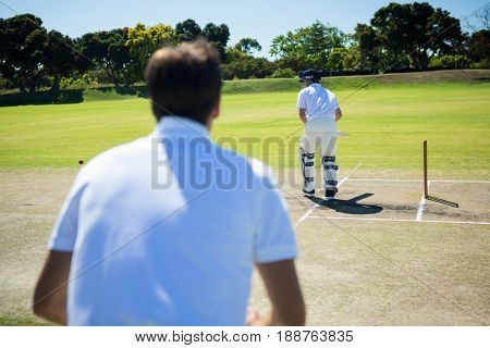 Rear view of man standing by batsman at cricket field on sunny day