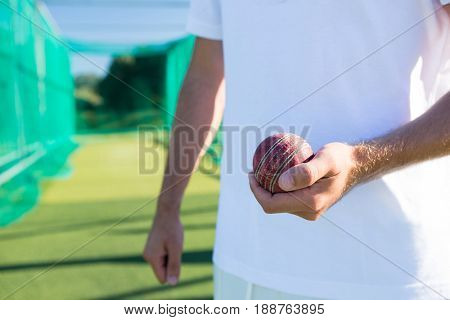 Close up of player holding cricket ball while standing on field