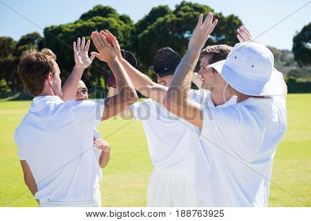 Smiling cricket players celebrating win at field against clear sky