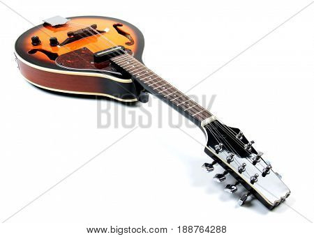 Mandolin in country style on white background
