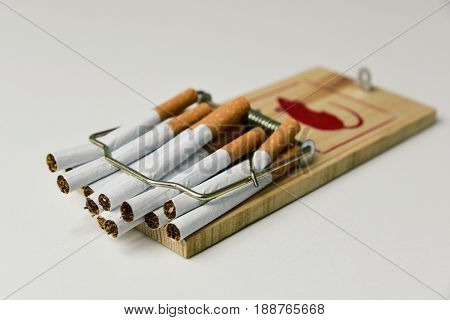some cigarettes trapped in a mousetrap, on an off-white background