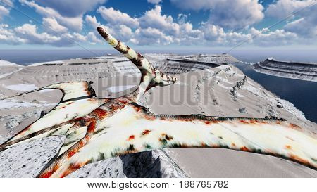 Flying pterodactyl over the land 3d illustration