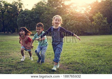 Children are in a field