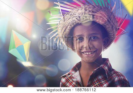 Child on Junina Party costume, Brazil