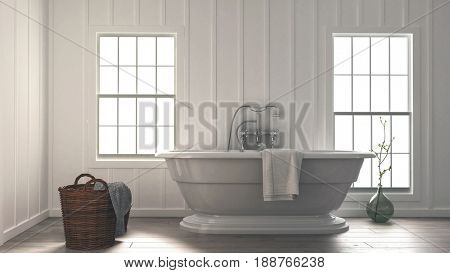 3d rendering of a stylish modern monochromatic white bathroom interior with a contemporary boat shaped bathtub and wicker baskets