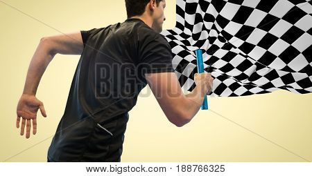Digital composite of Relay runner against yellow background and checkered flag