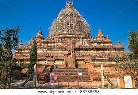 BAGAN, MYANMAR - MARCH 9, 2017. An unidentified Ancient temple in Bagan (Pagan) on March 9, 2017, Myanmar.