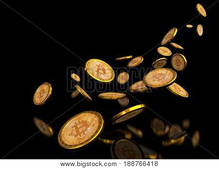 bitcoin golden coin 3d rendering image