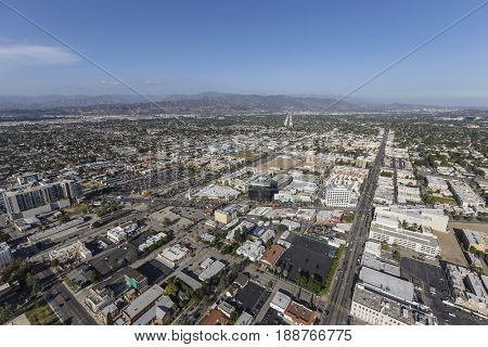 Aerial view of the North Hollywood community in the San Fernando Valley area of Los Angeles, California.