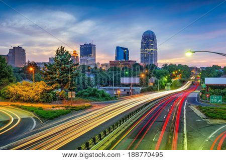 Winston-Salem, North Carolina, USA skyline and highway.