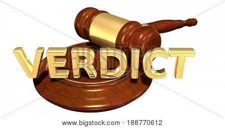 Verdict Law Concept 3D Illustration