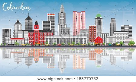 Columbus Skyline with Gray Buildings, Blue Sky and Reflections. Business Travel and Tourism Concept with Modern Architecture. Image for Presentation Banner Placard and Web Site.