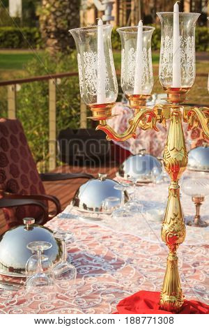 Special Occasion Table Setting In A Luxury Outdoor Restaurant