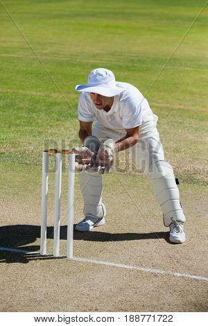 Full length of wicketkeeper standing behind stumps on field during sunny day