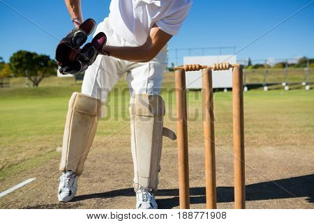 Low section of wicket keeper standing by stumps during match on sunny day