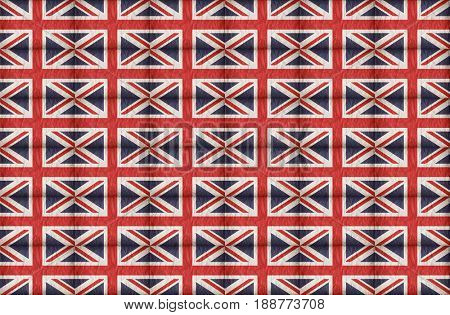 A seamless background of Union Jack flags on crumpled paper.